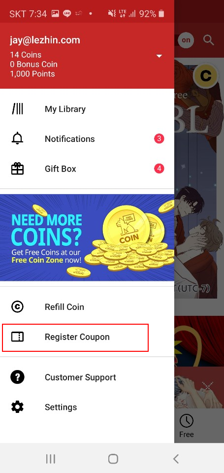how to get free coins on lezhin comics 2019